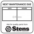 "Maintenance Reminder Labels / 2"" W X 2"" L"